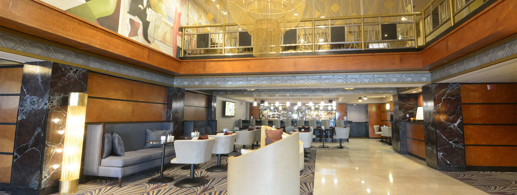 sideview of hotel lobby